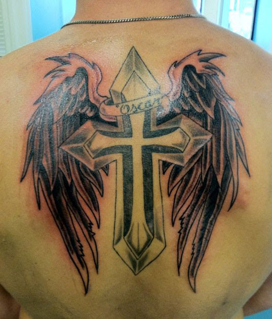 Grey Ink Cross With Angel Wings Tattoo On Back