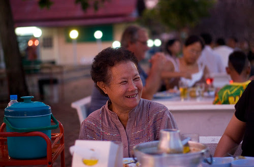 Mum enjoying dinner at Cabana Beach