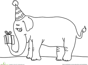 Birthday Elephant | Worksheet | Education.com