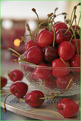 Fruits - Tart Cherries in a Crystal Bowl