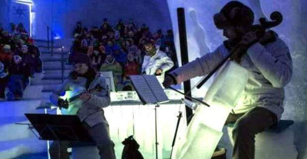 Music festival in Italian-Alps kicks-off by using icy musical instruments, Even Bands perform in Igloo