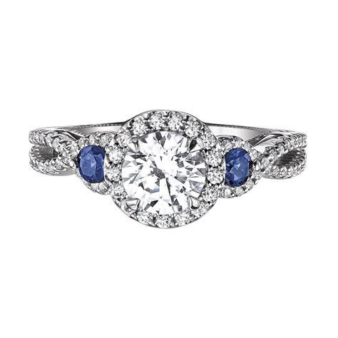 Love Story Diamonds: Sapphire Accent Engagement Ring by