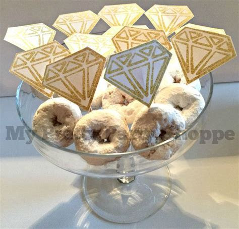 GOLD Printable Diamond Ring Donut / Cupcake Toppers