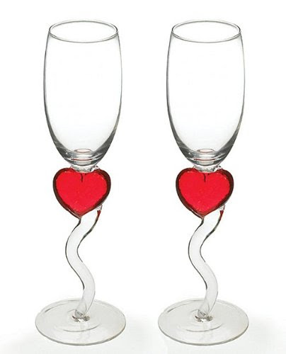 Red Heart Champagne Flutes (Set of 2)