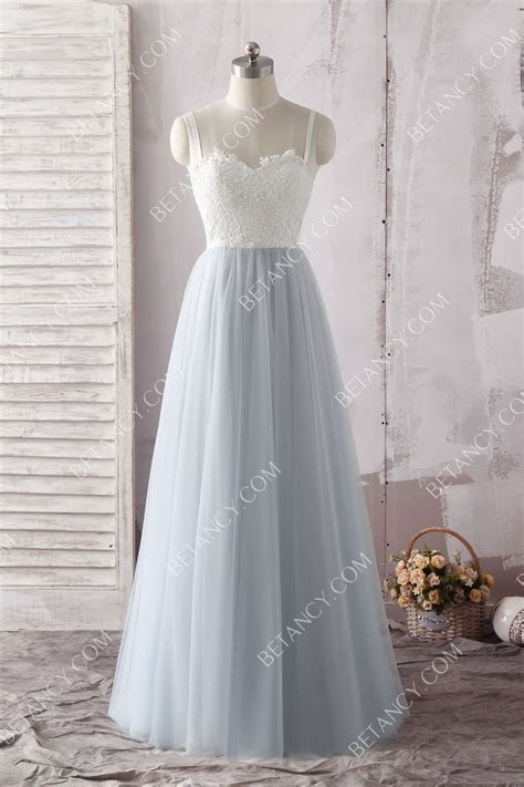 Floor Length A line Slate Blue Tulle and White Lace