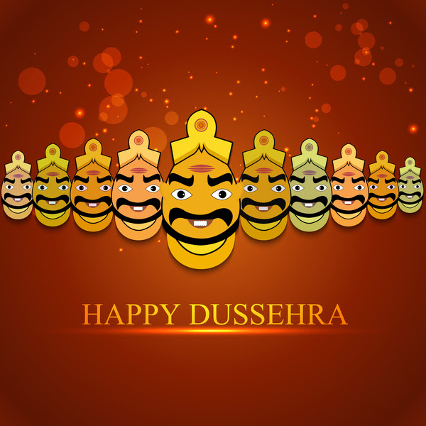 Indian festival dussehra for ravan with his ten heads design vector Free vector in Encapsulated