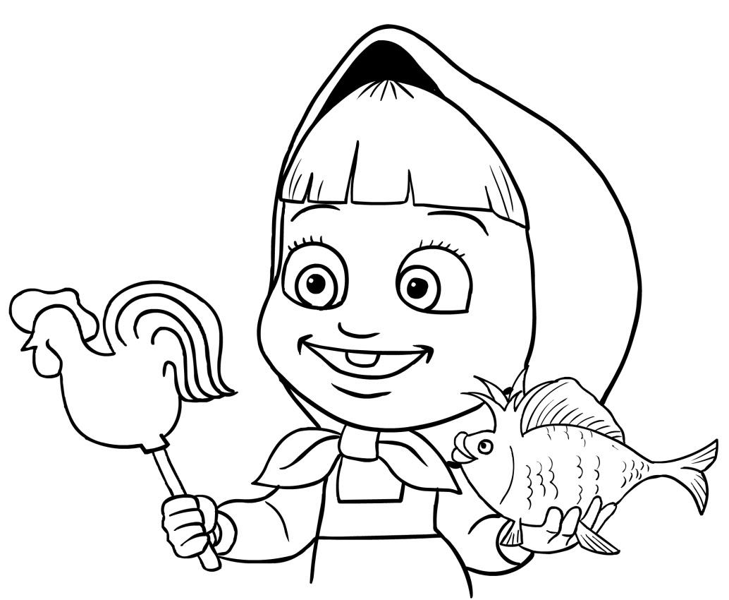 Dibujo De Masha Y El Pece De Oro Para Colorear