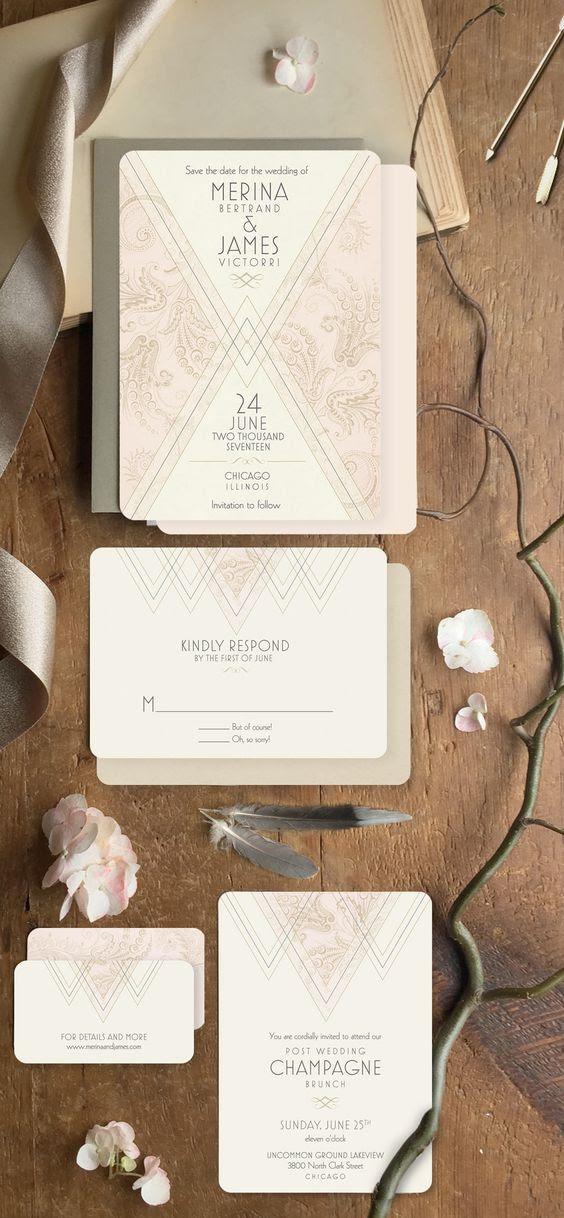 art-deco Hochzeit Briefpapier mit kundenspezifischen Formulierungen und dezentem Farb-Akzent