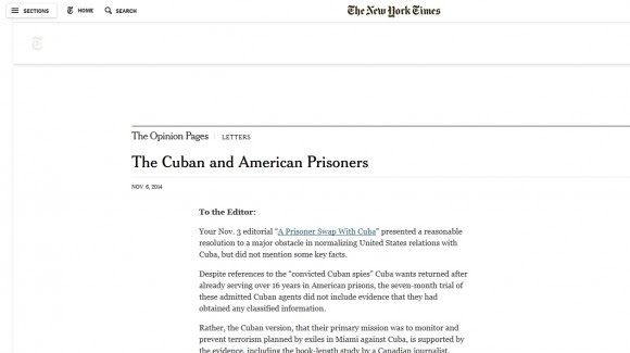 Cartas el Editor de The New York Times
