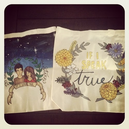 Absolutely AMAZING. I asked @punkprojects to design a tote for the IF I SPEAK TRUE blog tour next month—wanted to put one in the giveaway—and she made TWO!!! Now how do I decide which one to keep? Ahhhhh!!! THANKS SO MUCH, @katiebug92! :D LOVE THEM!!! #IfISpeakTrue #YA #DahliaandRowan #flowers #Flora