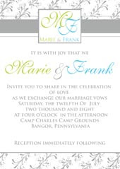 Gray monogram wedding invitation