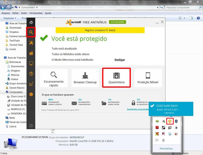 """Abra o antivírus e clique em """"Quarentena"""", se houver esta opção,  ou acesse o """"Escaneamento"""" (Foto: Reprodução/Daniel Ribeiro)"""