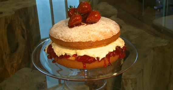 James Martin strawberry filled Victoria sponge cake recipe ...