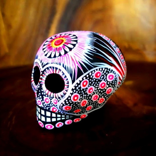 Medium Ceramic Chicano Sugar Skull Pink Mexico Con Amor