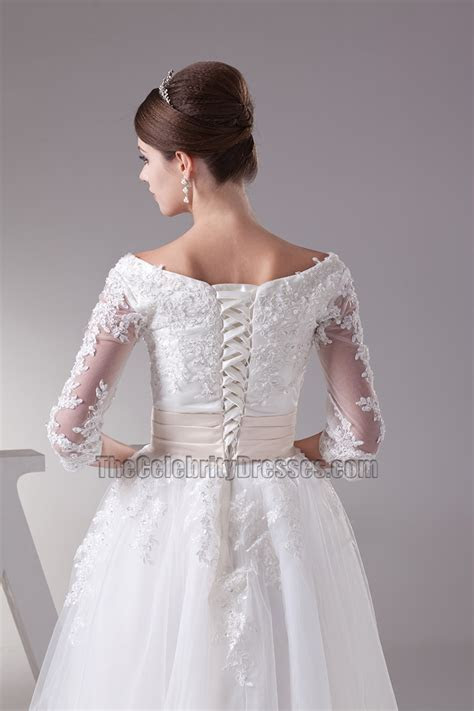 Elegant A Line Lace Up Back Embroidery Organza Wedding