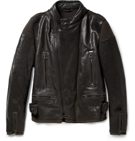 Lanvin Panelled Leather and Felt Biker Jacket