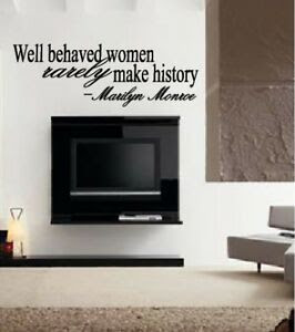 Well Behaved Women Marilyn Monroe Wall Quote Decal Modern Home ...