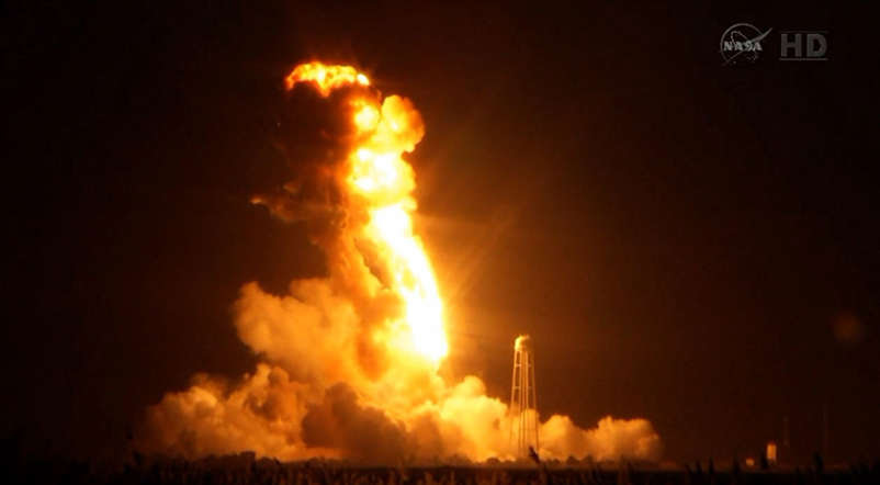An unmanned Antares rocket is seen exploding seconds after lift off from a commercial launch pad in this still image from NASA video at Wallops Island, Virginia October 28, 2014.
