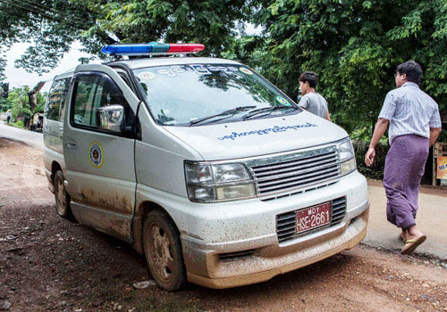 A Chanmya Thukha ambulance parks in Kawlin shortly before the local aid group returned to Mandalay on July 28. (Wa Lone/The Myanmar Times)