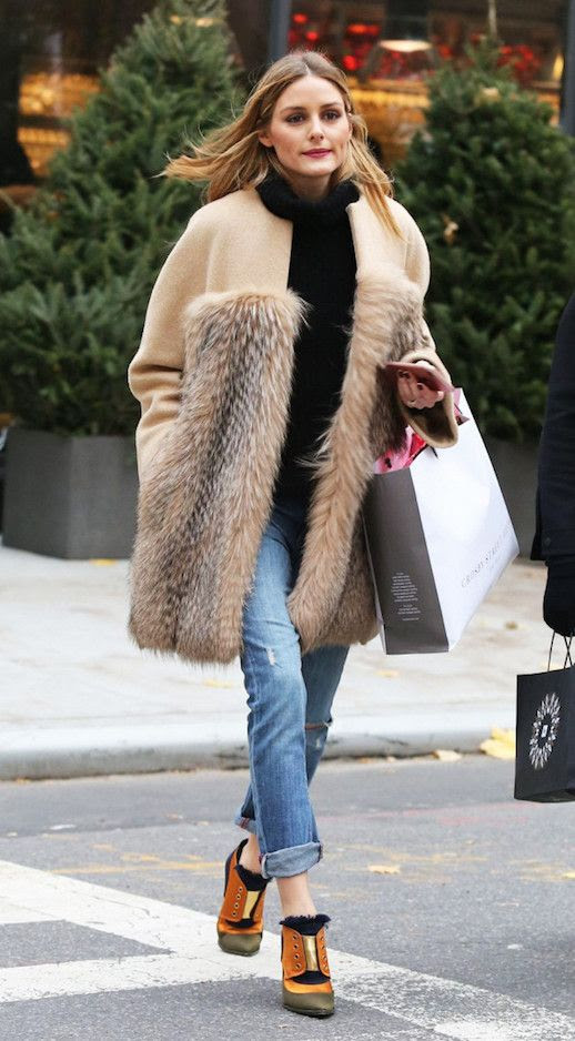 Le Fashion Fur Camel Coat Black Mock Neck Sweater Cuffed Jeans Statement Ankle Boots Via Who What Wear