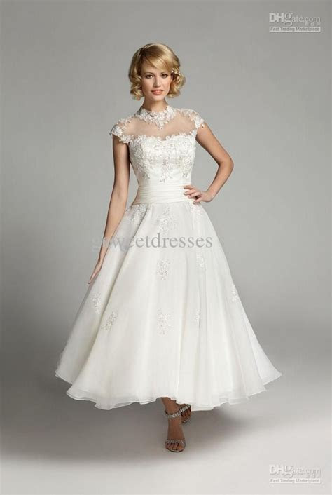 tea length Wedding Dresses For Older Brides With Sleeves