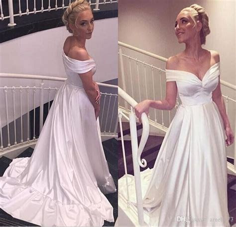 White Off Shoulder A line Long Satin Beach Wedding Dresses