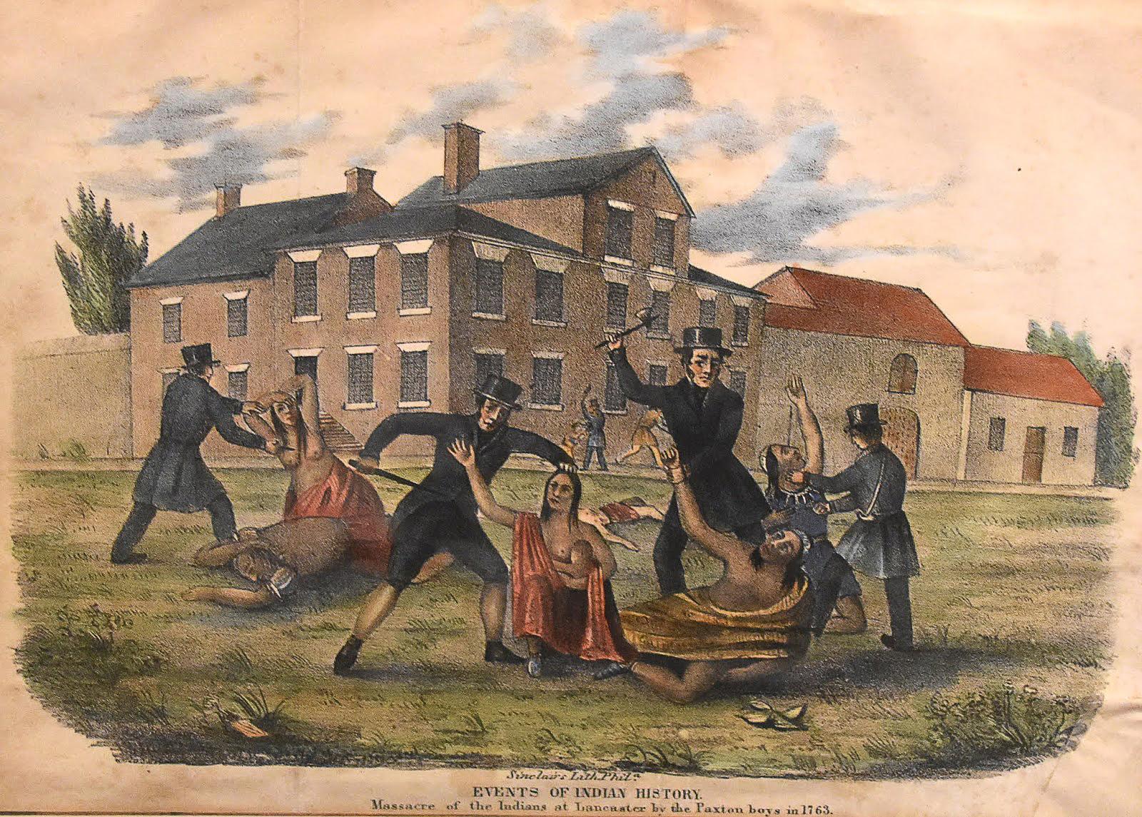 Masacre india de Lancaster en 1763. El 27 de diciembre de ese año, los Paxton Boys asesinaron a 14 nativos protegidos en esa ciudad.