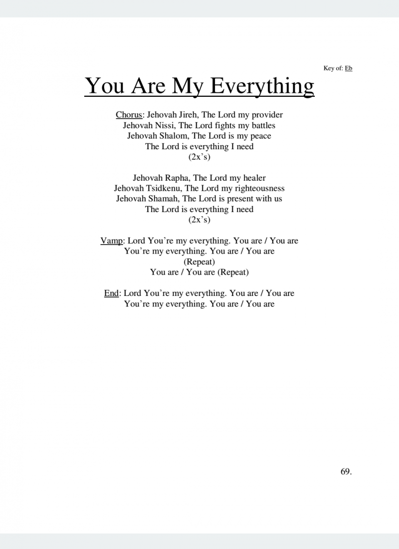 J Bass Ministries You Are My Everything Lyrics J Bass Songbook