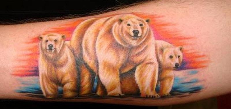 Awesome Bear Family Tattoo On Forearm