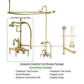 Polished Brass Clawfoot Tub Faucet Shower Kit Enclosure Curtain Rod