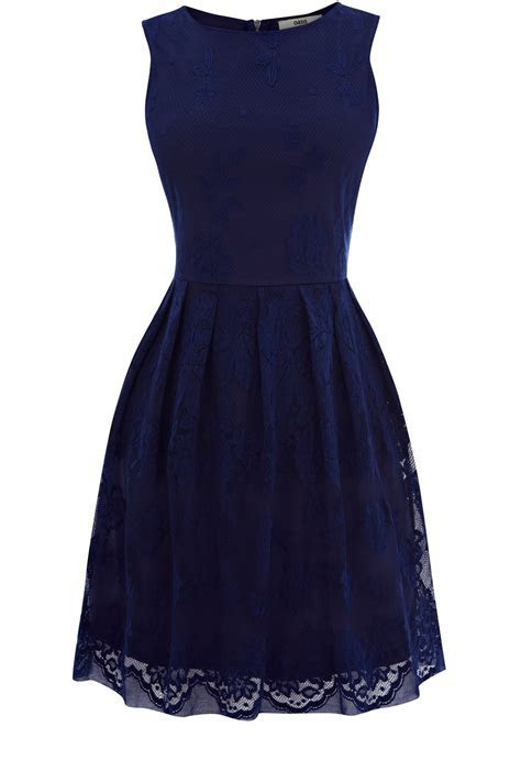 Oasis Clothing   Dark Blue Lace Cutaway Dress   Womens