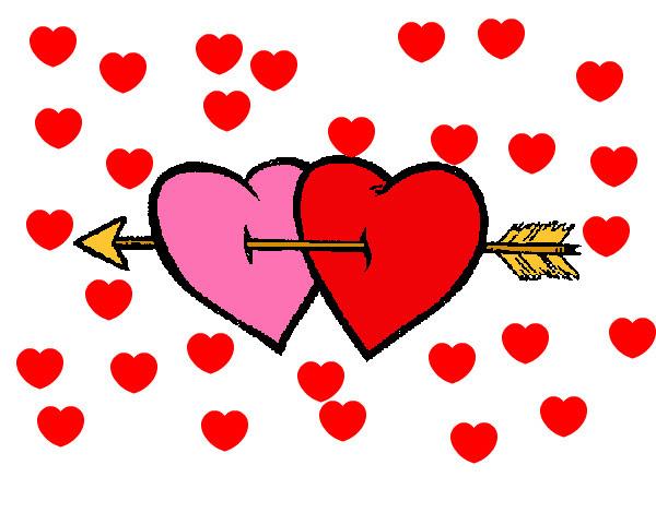 Dibujo De Dos Corazones Con Una Flecha Pintado Por Carlanl En
