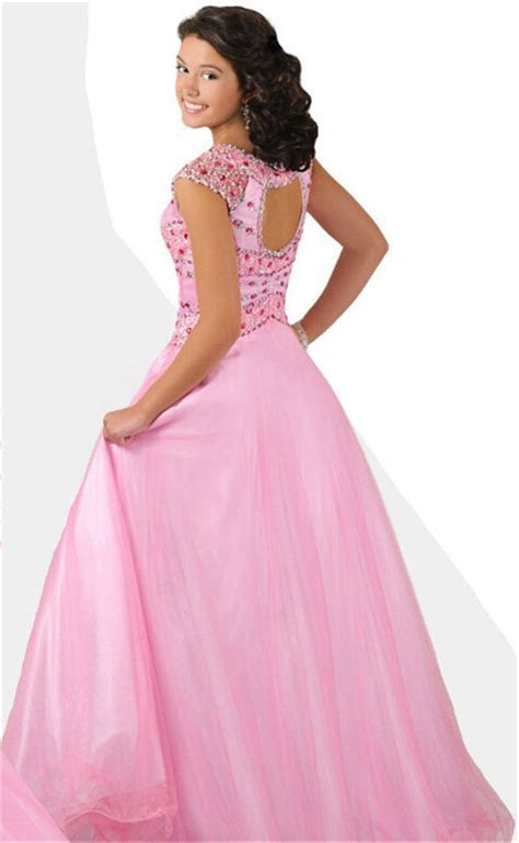 A Line Cut Out Open Back Cap Sleeve Long Light Pink Tulle