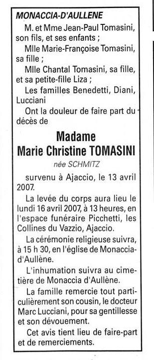 Décès Schmitz Tomasini Marie Christine