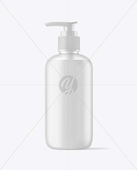 Frosted Dark Blue Liquid Soap Bottle With Pump Mockup - Freebify Mockups