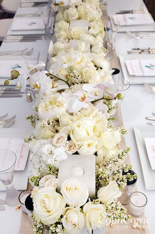 Full Table White Flower Wedding Reception Centerpiece 2776310 Weddbook