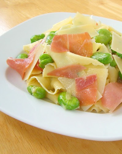 Pasta with Proscuitto, Fava Beans, and Shaved Parmesan