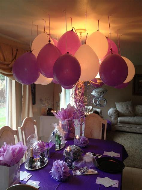 mini engagement party purple white silver decor cute