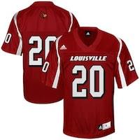 adidas Louisville Cardinals #20 Red Replica Football Jersey