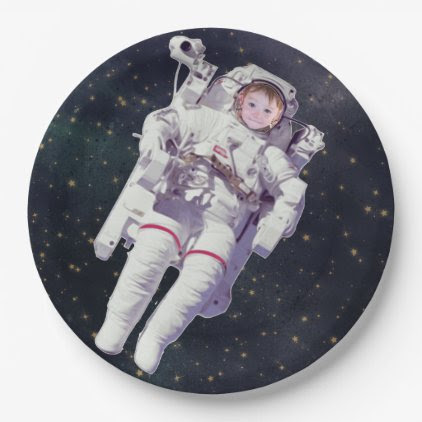 Add Your Child's Photo Space Birthday Plates