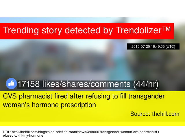 Cvs Pharmacist Fired After Refusing To Fill Transgender Woman039s