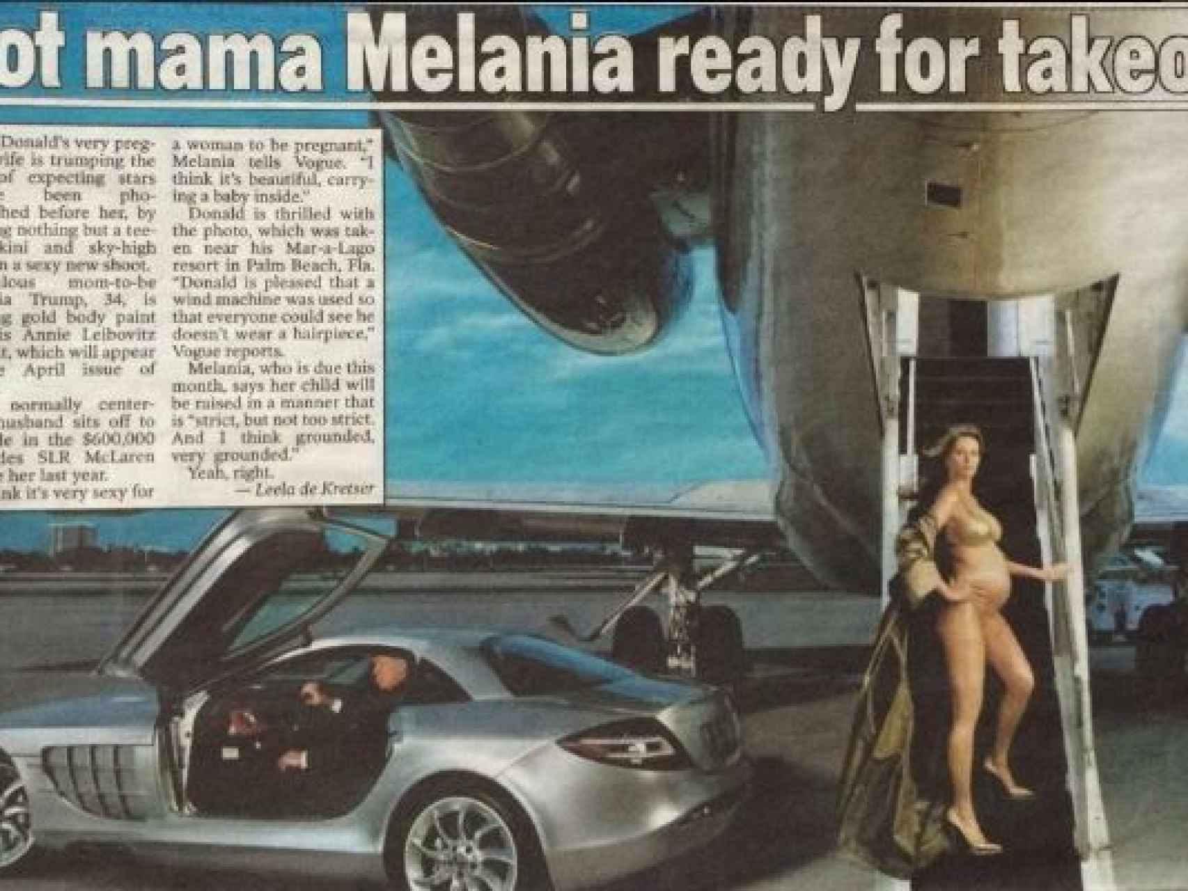 Melania luce embarazo junto al jet y el coche de su marido.