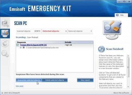 Emsisoft Emergency Kit removing malware