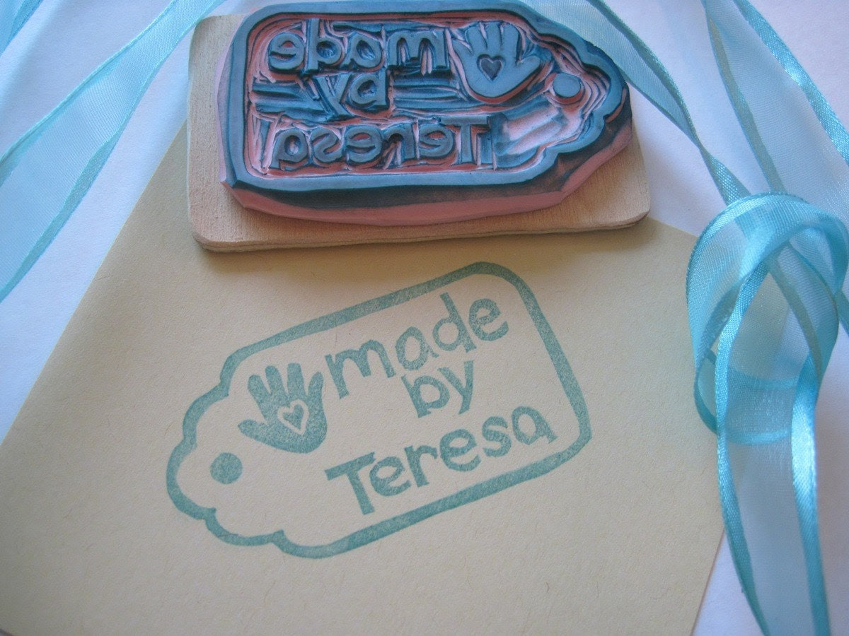 Personalized Hand Made Tag, Hand Carved Rubber Stamp
