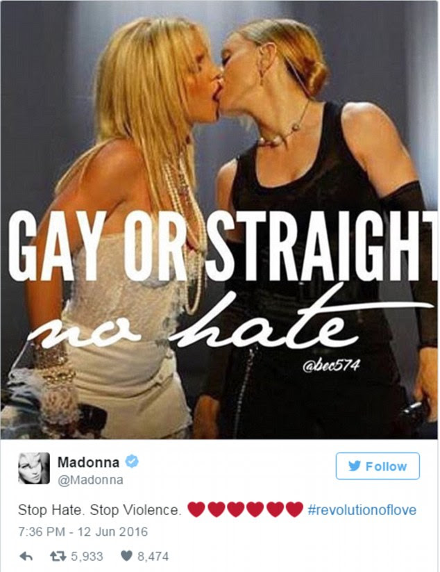 Controversial: One post includes a photo of her kissing Britney Spears at the 2003 VMAs, accompanied with the text 'Gay or straight, na hate', along with 'Stop Hate. Stop Violence. #revolutionoflove'.