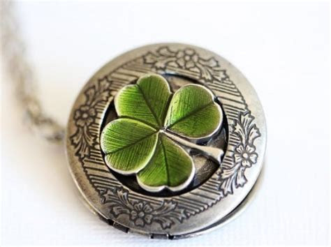 Four Leaf Clover Locket,Jewelry Gift,Claddagh, Antique