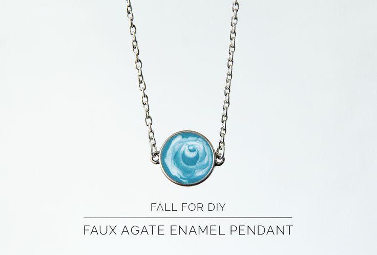 Fall For DIY Faux Agate Enamel Pendant