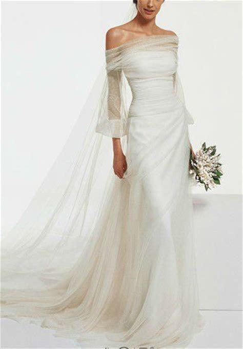 boat kneck long sleev drape back wedding dress   Boat neck