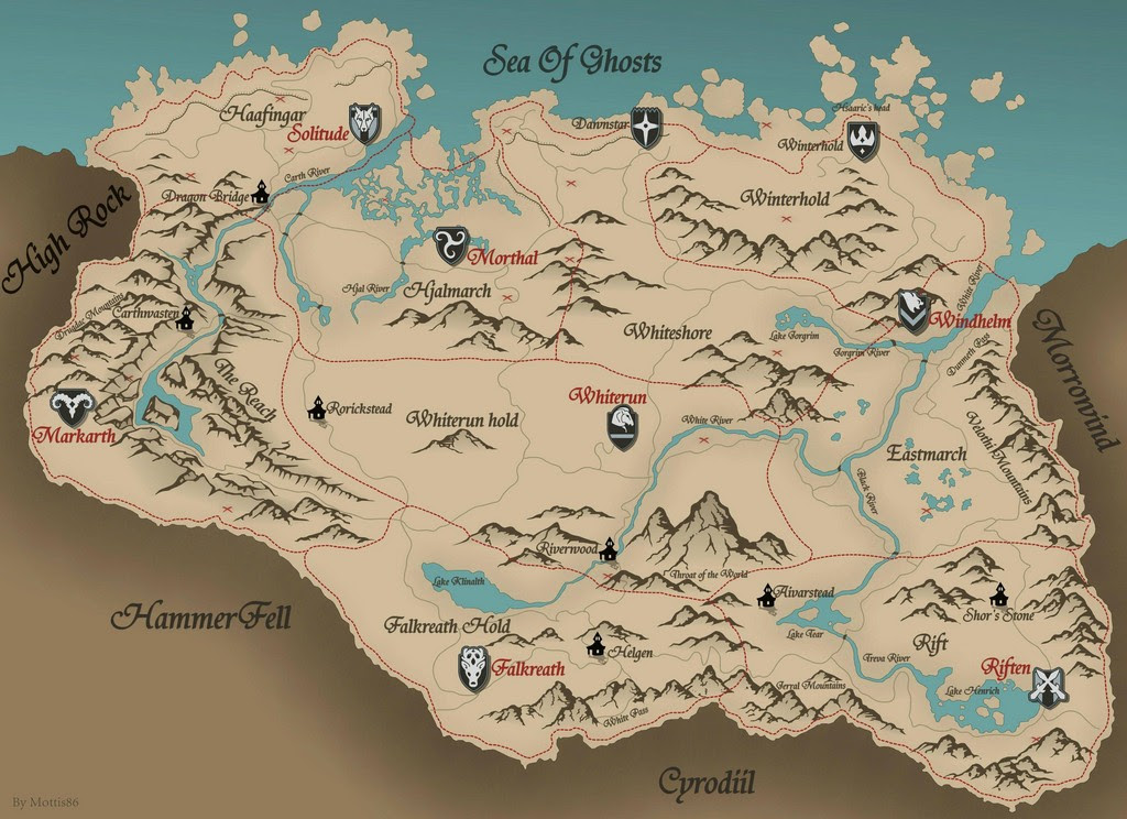 What Do The Little Red Xs On The Skyrim Physical Map