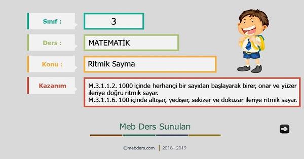 3sınıf Matematik Ritmik Sayma Sunusu Meb Ders